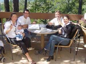 Michael and Silvia with Jeff, Andrea and Shiloh at a winery in Napa Valley